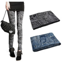 Wholesale Cheap price seamless denim Women leggings faux pocket jeggings ankle length trousers leggings