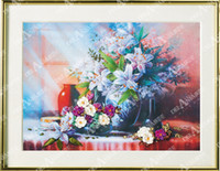 Wholesale Ribbon embroidery butterflies three dimensional embroidery paintings finished product flower fashion lily cross stitch