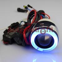 Wholesale Blue Halo Ring Motorcycle Headlight Retrofit Mini Bi xenon Projector Lens Ballast H4 H1 H7 K K K
