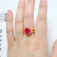 Other shape / pattern Alloy / Silver / Gold On the 19th the 16th the 14th the 12th t Over a hundred packages tact Ms. Ruby Ring Gold-plated high-end European and American style jewelry Korean pop