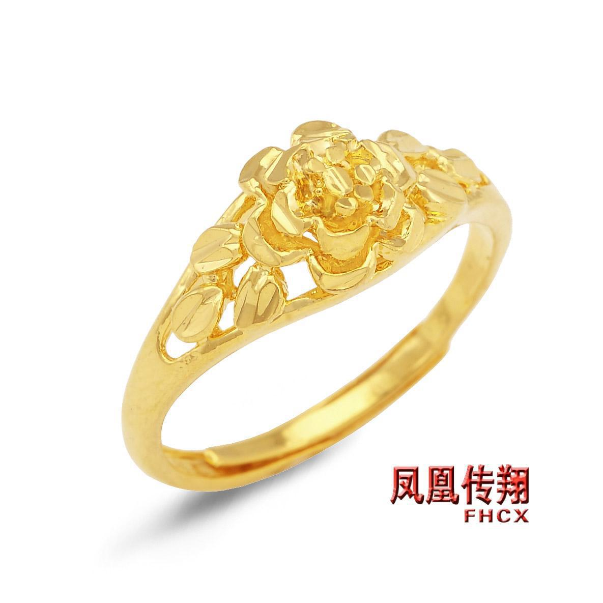 Women S Ring Ring Ring Gold Plated Flowers Female Ring Wedding ...