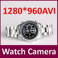 Wholesale 1280 High resolution GB watch camera digital video recorder Hidden camera sport Dvr wrist watch mini camcorders silver black