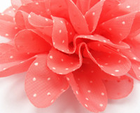 Flower flower head, flat back chiffon Free shipping Polka Dot chiffon Lace flower head Baby flower head DIY for hair clips or headbands & shoe flower 16pcs lot