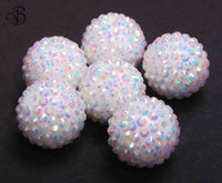 Wholesale 100 White AB mm resin rhinestones ball beads for chunky necklace