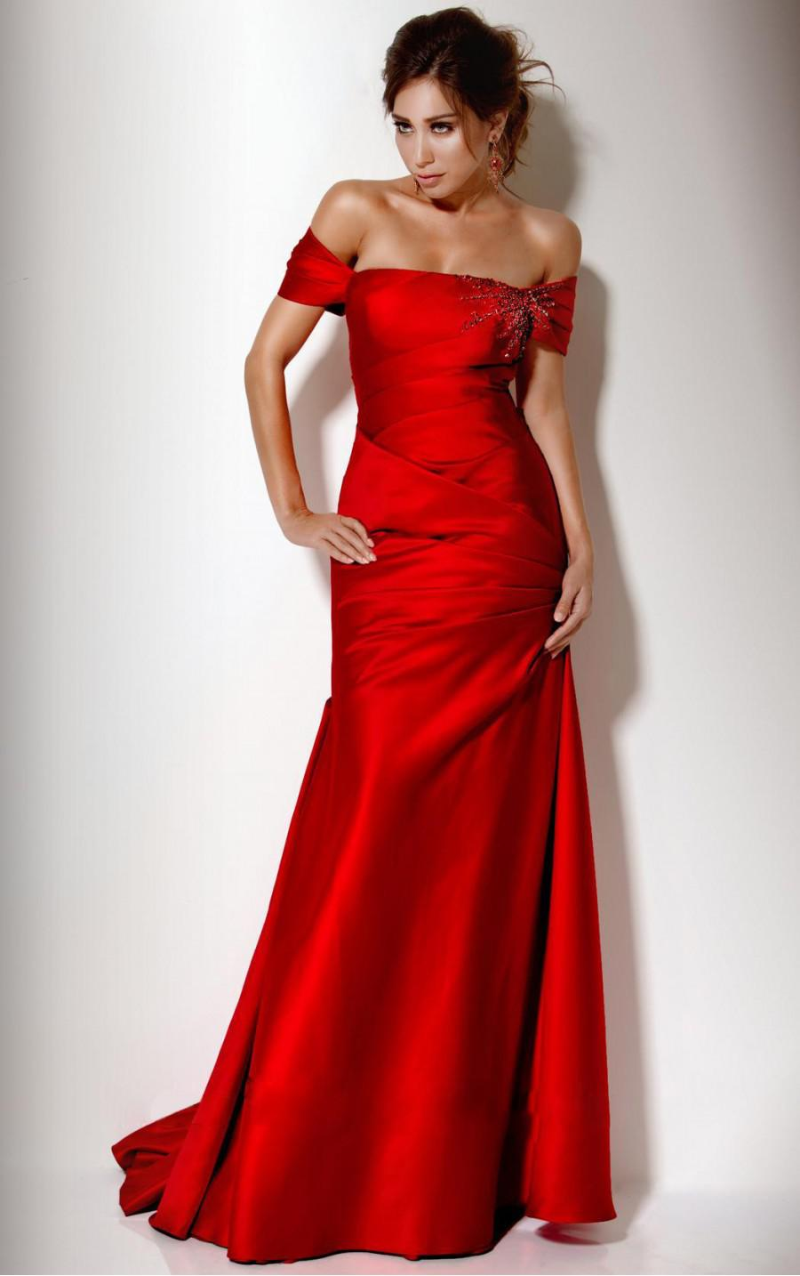Bright red off shoulder prom dresses sexy mermaid off for Off the shoulder satin wedding dress