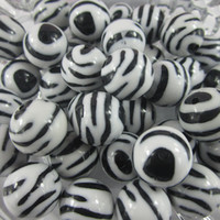 Acrylic, Plastic, Lucite acrylic zebra beads - 20mm Jewelry findings chunky necklace white black zebra round beads