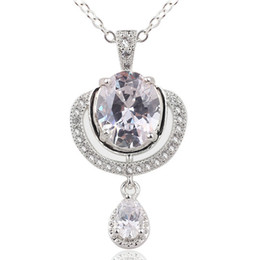 Unique Ladies Oval White Topaz Pear Stone Real 925 Sterling Silver Pendant Necklace NAL P040