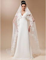 Wholesale One tier Meter Tulle With Applique Cathedral Veil More Colors