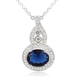 Special Design Women Round Blue Sapphire Gourd Sterling Silver 925 Pendant Necklace NAL P066