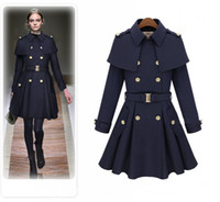 Wholesale 2014 Autumn Winter Coats For Women Ladies Long Elegant Overcoat Outwear Navy Blue Beige Wool Blends