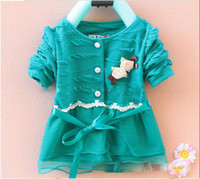 Wholesale Spring Outfits for Girl Cute Flower Appliqued On Chest Long Sleeve Yarn Spinning Buttom with Ribbon Belt Soft Fabric Hot Sale Discount BO1