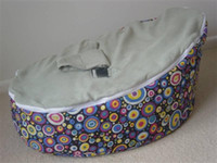 Wholesale Colored dots circle bean bag chair with grey top