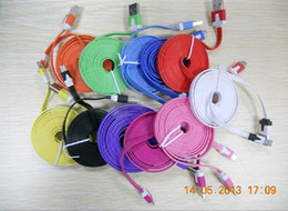 Micro 2m 6FT Noodle Flat cable USB Data Sync Charging V8 Cable For Samsung etc most cell phones Sync Charger Line 100pcs up