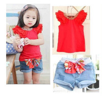 Wholesale 5 Sets Summer Baby Girls Suits Red Short Sleeve Lace T shirt Bow Blue Denim Short Pants Children Outfits Kids Clothing Set