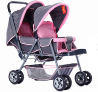 Wholesale NEW Top grade Babies Strollers Luxury Front and rear twin baby stroller Increase double pink and grey promotions EMS Y6008
