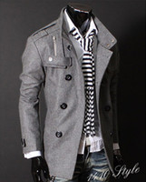 Wholesale 2016 High quality Men s wool coat Fashion Mens Casual Slim Double Breasted PEA Woolen coats