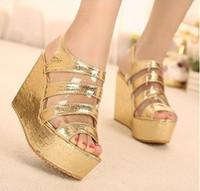 Women Wedge PU free shipping women wedge sandal high heel lady sandal shoe pu upper lady wedge shoe
