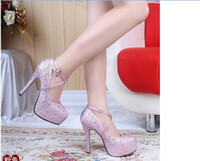 Wholesale Hot Wedding Shoes Crystal Wedding The Bride Shoes Single Party bridesmaid shoes high heeled waterproof Taiwan diamond shoes