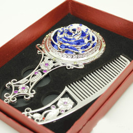 2015 Hot Sale Decor Mirror and Comb Set Rhinestone Handle Mirror Hair Comb Cosmetic Products 5pcs lot HZ036