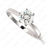 Wholesale Whited Gold Plated Use Swarovski Crystal Simulation of Diamond ct wedding ring Lovers Gift R059W1