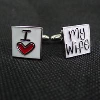 Silver cufflink - quot I LOVE MY WIFE quot cufflinks men s cuff links Good husband