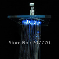Wholesale Free Ship Crystal Organic Glass Color changing LED overhead shower