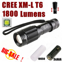 Wholesale E7 CREE XM L T6 Lumens High Power Torch Zoom Adjustable Flashlight torch AAA