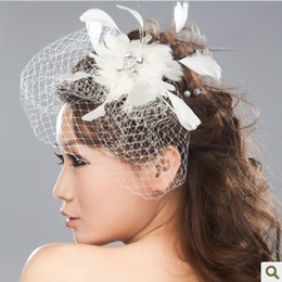 Wholesale 2013 bridal veil only beautiful wind net yarn feather headdress wedding hair accessories