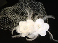 Wholesale Bridal Veil Accessories Exporter Ivory White Two Flowers Feather Birdcage Wedding Dress Veil uukk