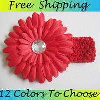 Wholesale 60PCS Colors Peony Design Infant Headbands Fashion Flower Design Baby Headwear Girls Hair Accessories Crochet Hair Band