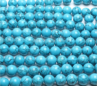 Wholesale mm natural crystal beads gems interval beads Bulk blue turquoise round beads inch