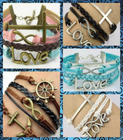cheap bracelets - Fashion style Charm bracelet Really cow leather Waxed thread bracelet Cheap jewelry Beautiful Gift