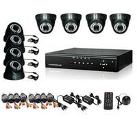 al por mayor cctv cámara domo 8ch sistemas-Cámara 8CH H.264 DVR 8PCS DOME Día Noche de seguridad del sistema de CCTV con 500GB HDD H030