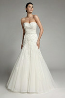 Wholesale 2013 New Fashion Strapless Custom Size Sleeveless Appliqued Sexy Mermaid Wedding Dresses Layered Lace Complex Strapless Wedding Dresses