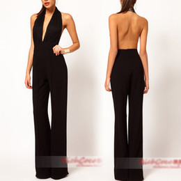 Wholesale Sexy Women Lady Deep V Neck Backless Party Cocktail Evening Jumpsuit Waist Black Pants Trousers