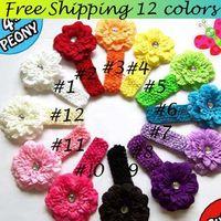 Wholesale Hot Sale Baby Girls Headband Crochet Children Hair Bands Kids Headdress Crystal Center Flower Hair Accessories Colors