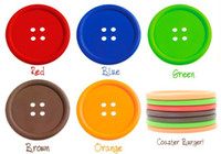 Silicone Silicone Fashion, cute, youth, Japan style creative colorful Button design cup mat coaster 20Pcs lot 5 Color