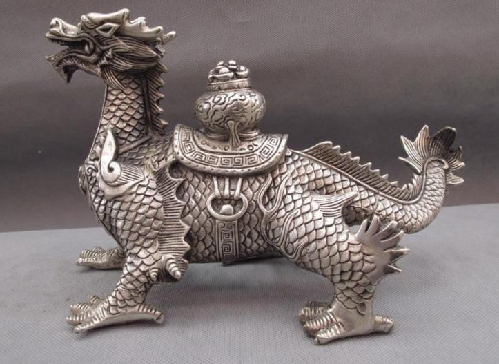 china palace white copper silver feng shui evil wealth beast kirin dragon statue chinese feng shui dragon