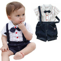 Wholesale Summer Baby Suit Leisure Fashion Kid Short Sleeves Cotton Solid Bow Tie Top T Shirt Suspender Shorts Pants Set Children Clothes Set