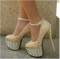 Wholesale New Women s High Heel cm Waterproof Shoes diamond wedding shoes