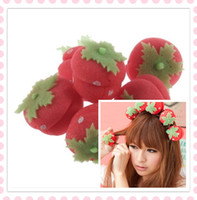 Wholesale Strawberry Soft Sponge Hair Curler Roller Balls Magic Hair Style Tool