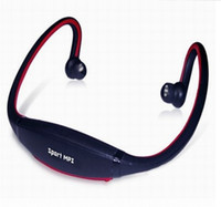Wholesale TF Slot Sports MP3 Player w FM Radio Wireless Headset Handsfree Headphone RED BLACK GREEN BLUE