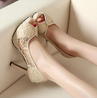 Hot Sell New Sexy Lace Hollow Out Platform Chaussures Talons Chaussures Stiletto Peep-toe