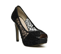 Wholesale New Black Sexy Lace Hollow out Platform High Heels shoes Women Stiletto Peep toe