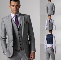Wholesale Custom Made Slim Fit Two Buttons Light Grey Groom Tuxedos Notch Lapel Best Man Groomsmen Men Wedding Suits Jacket Pants Tie Vest AA