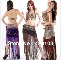 Belly Dancing Sequin Spandex 2pcs set sexy suit tribal belly dance dancing dress costume theatrical top bra hip scarf #8168