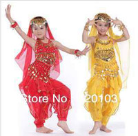 Wholesale 3pcs set children indian dance costume kids belly dance suit girl top pant hip scarf