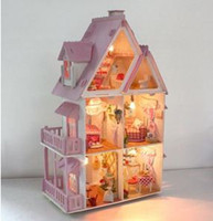 Wholesale DIY dolls house miniatures lamp puzzle GIFT