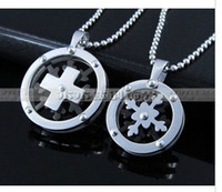 Wholesale Snowflakes rotating cross couple necklace pendant titanium steel Christmas ornaments four color