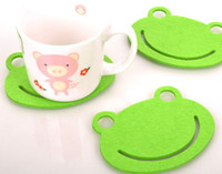 Wholesale Creative fashion Mini felt cute frog cup mat coaster with Chinese character bowl pad
